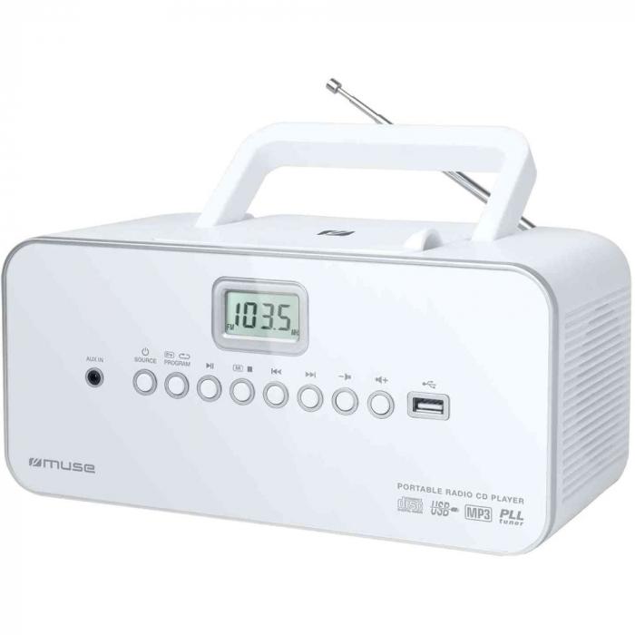 Sistem audio portabil MUSE M-28 RDW, Display LCD, CD-Player, Radio, AUX-in, Port USB, Alb 0