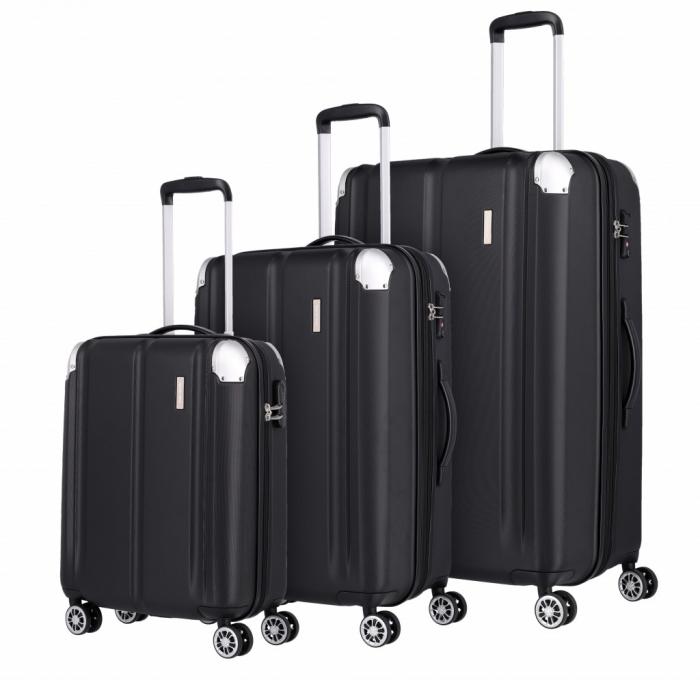 Set trolere Travelite CITY 4 roti L extensibil/M extensibil/S - Negru cu colturi din aluminiu 0