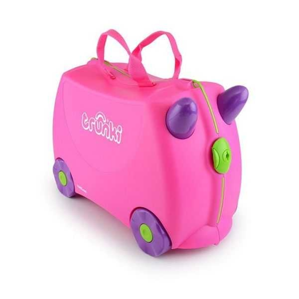Set travel pentru copii - Valiza TRUNKI Trixie + Perna de calatorie Yondi Pink 1