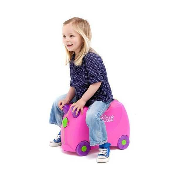 Set travel pentru copii - Valiza TRUNKI Trixie + Perna de calatorie Yondi Pink 5