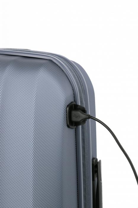 Troler de cabina cu USB - TITAN XENON 4 roti 55 cm (S) - Albastru 10