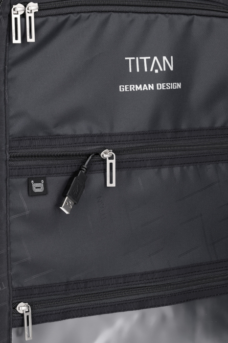 Troler de cabina cu USB - TITAN XENON 4 roti 55 cm (S) - Albastru 11