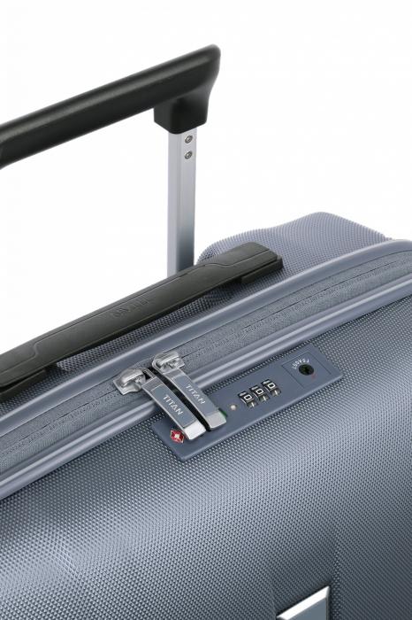 Troler de cabina cu USB - TITAN XENON 4 roti 55 cm (S) - Albastru 9
