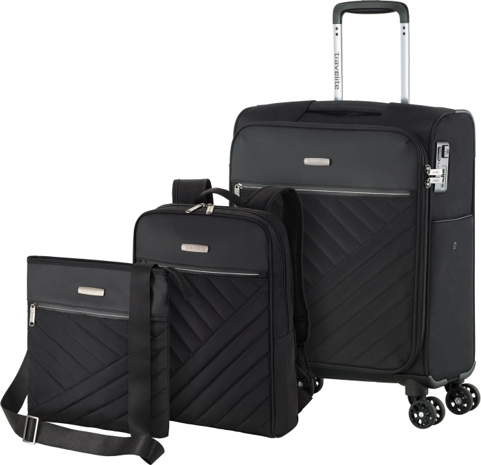 Set trolere Travelite JADE 4 roti 54cm, geanta de umar si rucsac (USB incorporat) 0