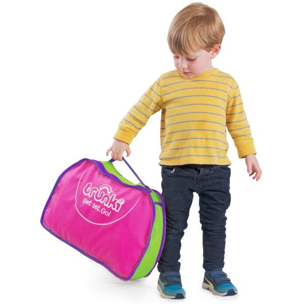 Set travel pentru copii - Valiza TRUNKI Flossy the Flamingo + Trunki Tidy Bag Pink - Trunki 7