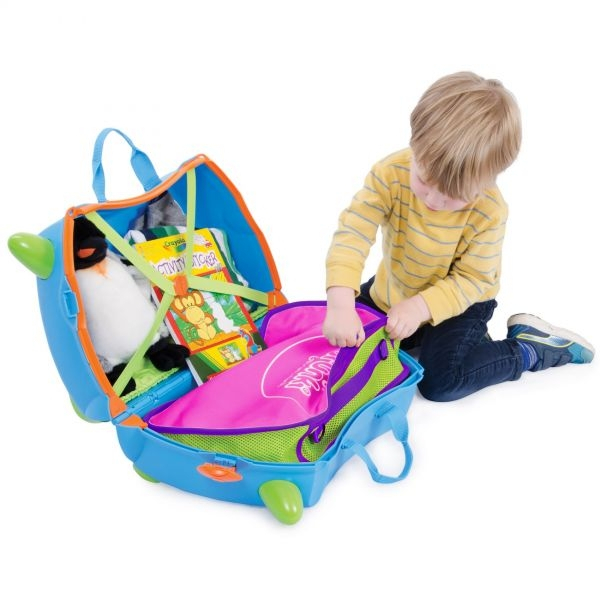 Set travel pentru copii - Valiza TRUNKI Flossy the Flamingo + Trunki Tidy Bag Pink - Trunki 8