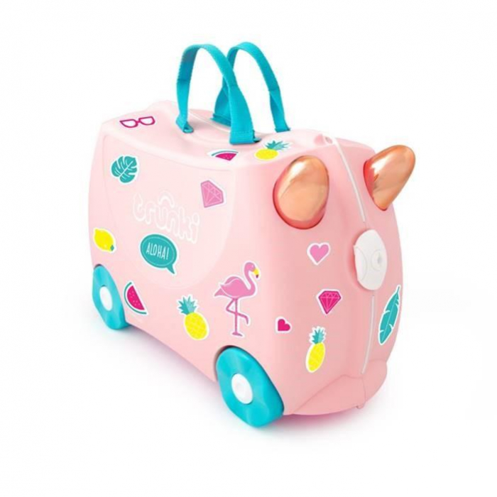 Set travel pentru copii - Valiza TRUNKI Flossy the Flamingo + Trunki Tidy Bag Pink - Trunki 1
