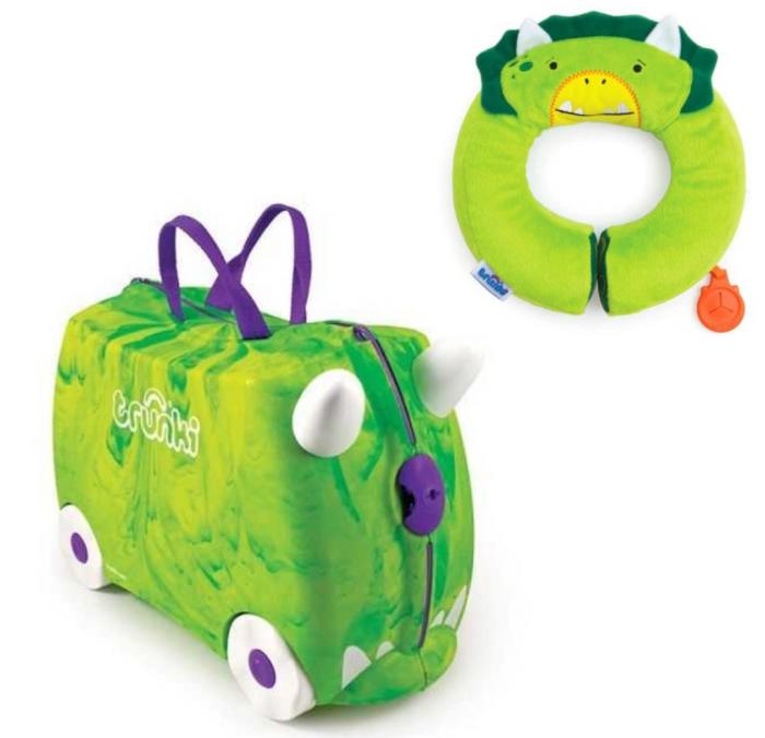 Set travel pentru copii Valiza TRUNKI Trunkisaurus Rex + Perna calatorie  Yondi Green 0