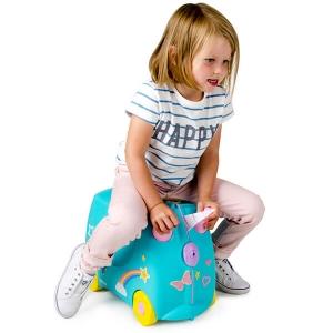 Set travel pentru copii - Valiza TRUNKI UNA - Unicornul + Perna calatorie Trunki Yondi Pink2
