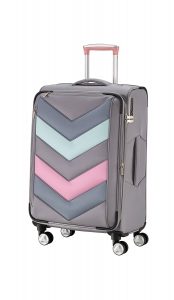 Troler TITAN - SPOTLIGHT Textil 4 roti duble M - 65 cm- Gri Sorbet/Multicolor