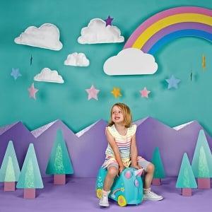 Set travel pentru copii - Valiza TRUNKI UNA - Unicornul + Perna calatorie Trunki Yondi Pink9