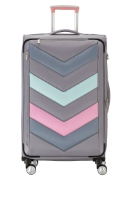 Troler TITAN - SPOTLIGHT Textil 4 roti duble L - 76 cm- Gri Sorbet/Multicolor0