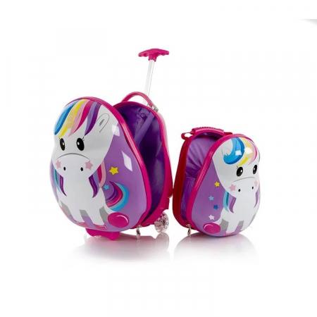 Set Heys Troler ABS Copii si Ghiozdan Unicorn 46 cm3