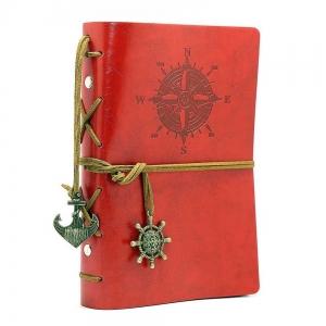 Agenda/Notebook Rosu Vintage de calatorie cu coperta din Piele Ecologica
