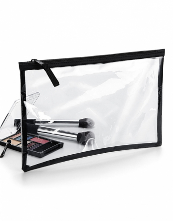 Geanta cosmetice transparenta cu fermoar - Contur Negru0