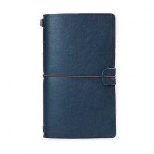 Agenda/Notebook Vintage A6 de calatorie cu coperta din Piele ecologica Albastru0
