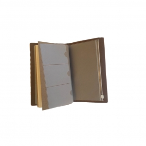 Agenda/Notebook Vintage A6 de calatorie cu coperta din Piele ecologica Maro Deschis3