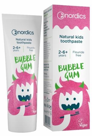 Pasta de dinti naturala fara fluor pentru copii 2-6 ani, Bubble Gum - Nordics
