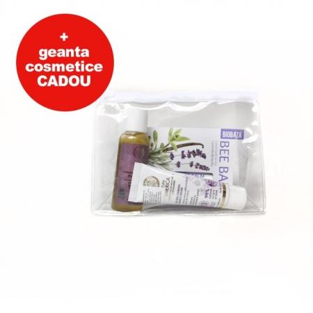 Set cosmetice cu gentuta cosmetice cadou (sampon, crema de maini, balsam de buze Miere)0