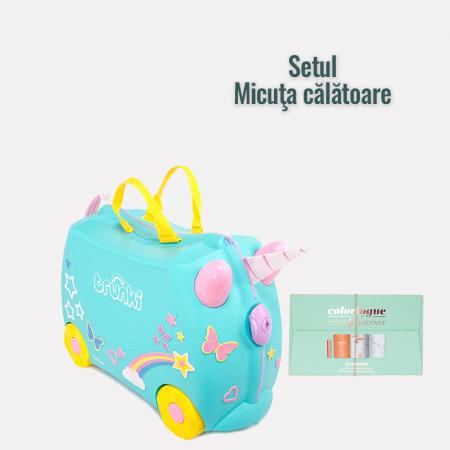 """Set """"Micuta calatoare"""" : Valiza TRUNKI UNA - Unicornul + Jurnal de calatorie de colorat"""