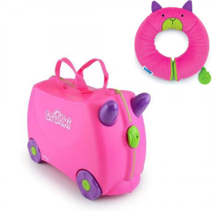 Set travel pentru copii - Valiza TRUNKI Trixie + Perna de calatorie Yondi Pink0