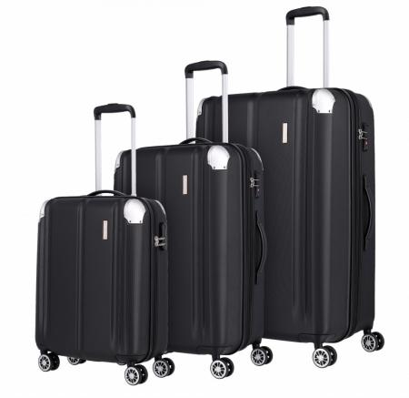 Set trolere Travelite CITY 4 roti L extensibil/M extensibil/S - Negru cu colturi din aluminiu0