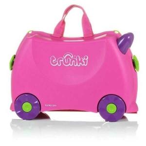 Set travel pentru copii - Valiza TRUNKI Trixie + Perna de calatorie Yondi Pink2