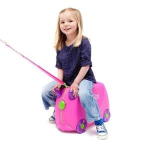 Set travel pentru copii - Valiza TRUNKI Trixie + Perna de calatorie Yondi Pink6