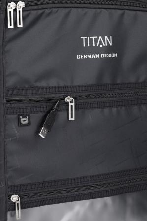 Troler de cabina cu USB - TITAN XENON 4 roti 55 cm (S) - Albastru11