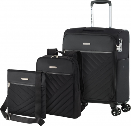 Set trolere Travelite JADE 4 roti 54cm, geanta de umar si rucsac (USB incorporat)0
