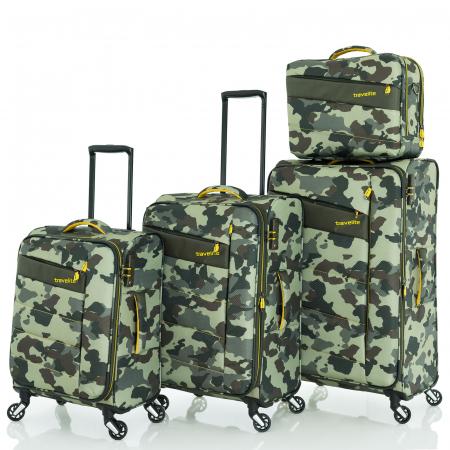 SET Trolere Travelite KITE 4w S,Mexp,Lexp - Camuflaj + Geanta de bord CADOU0
