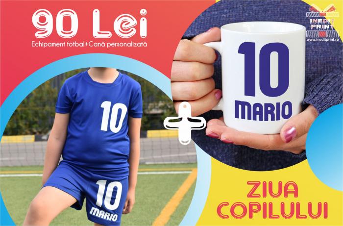 Echipament fotbal copii personalizat + Cana personalizata 0