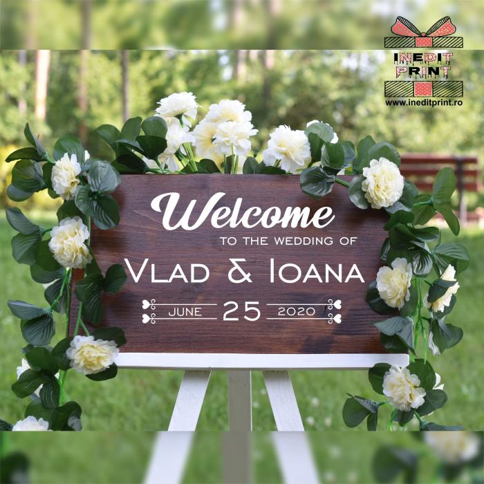 """Plăcuță Întâmpinare """"Welcome"""" Personalizată PN46 3"""