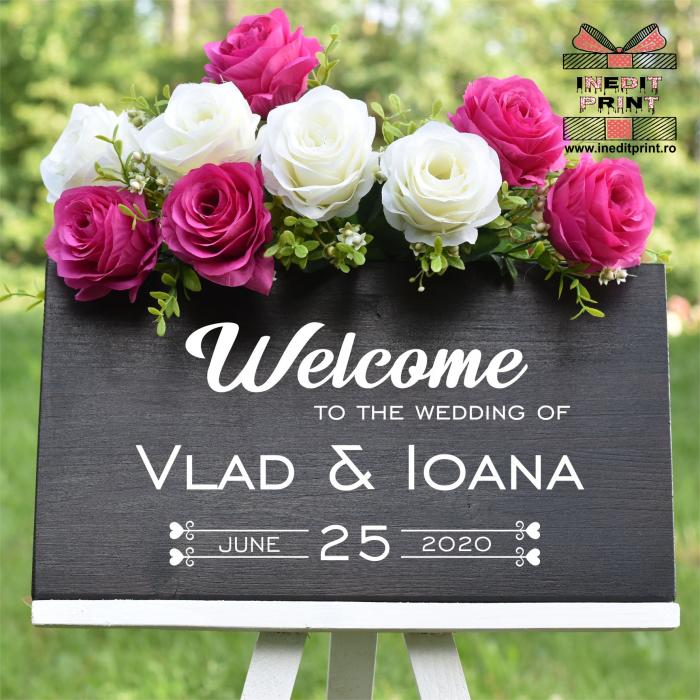 """Plăcuță Întâmpinare """"Welcome"""" Personalizată PN46 2"""