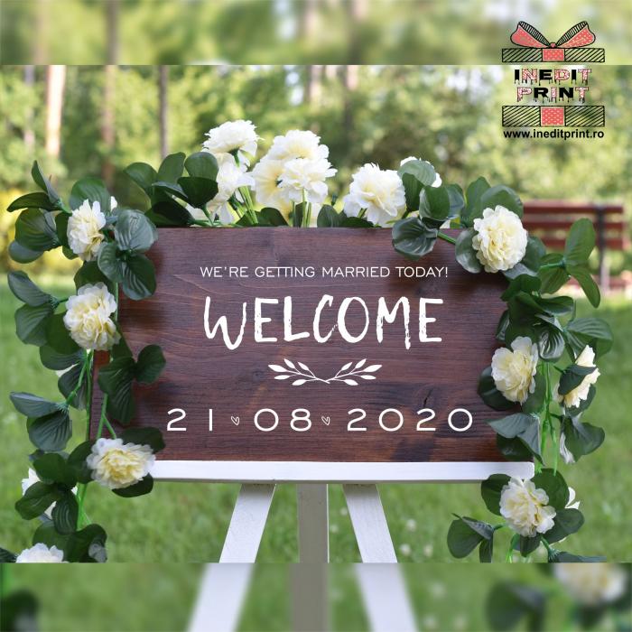 """Plăcuță Întâmpinare """"Welcome"""" Personalizată PN48 0"""