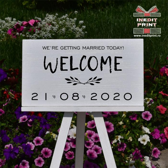 """Plăcuță Întâmpinare """"Welcome"""" Personalizată PN48 1"""