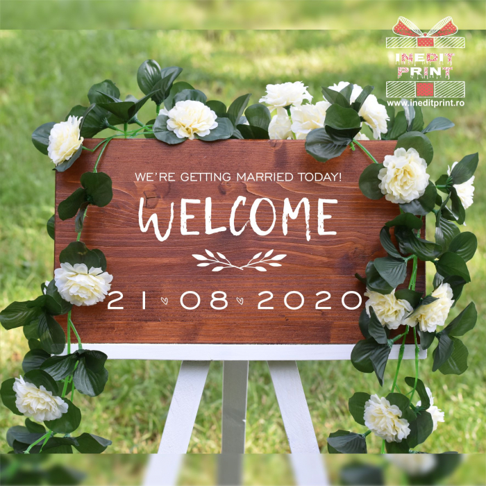 """Plăcuță Întâmpinare """"Welcome"""" Personalizată PN48 2"""