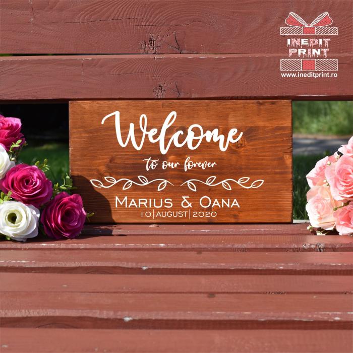 """Plăcuță Întâmpinare """"Welcome"""" Personalizată PN56 0"""