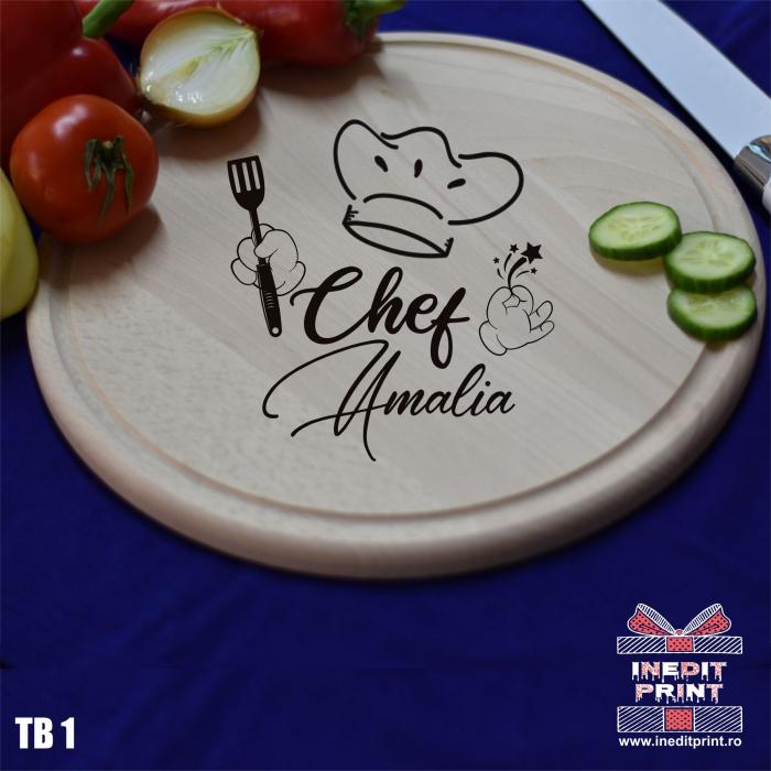 Tocător lemn rotund personalizat Chef TB1 1