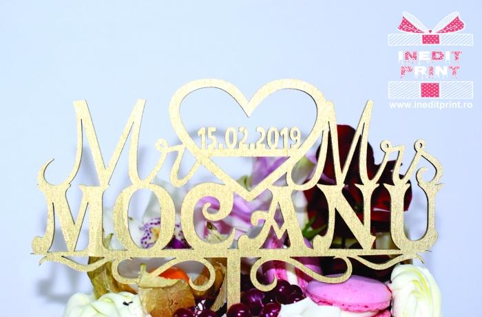 Topper Tort Personalizat Mr & Mrs TC1 2