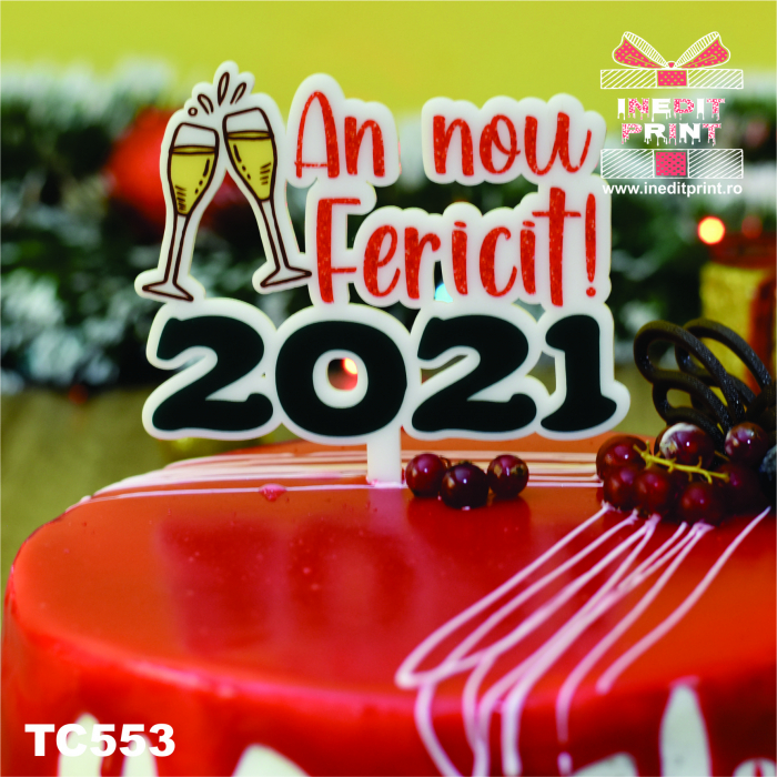 "Topper Tort UV ""An nou fericit 2021 "" TC553 1"