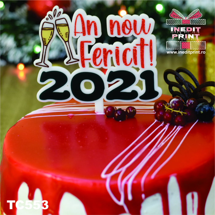 "Topper Tort UV ""An nou fericit 2021 "" TC553 2"