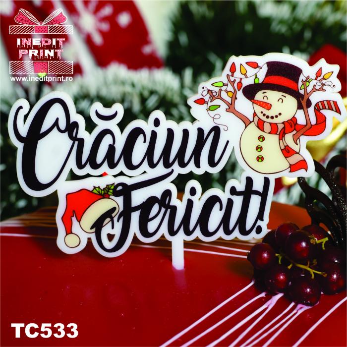 "Topper Tort UV ""Crăciun fericit "" TC533 2"
