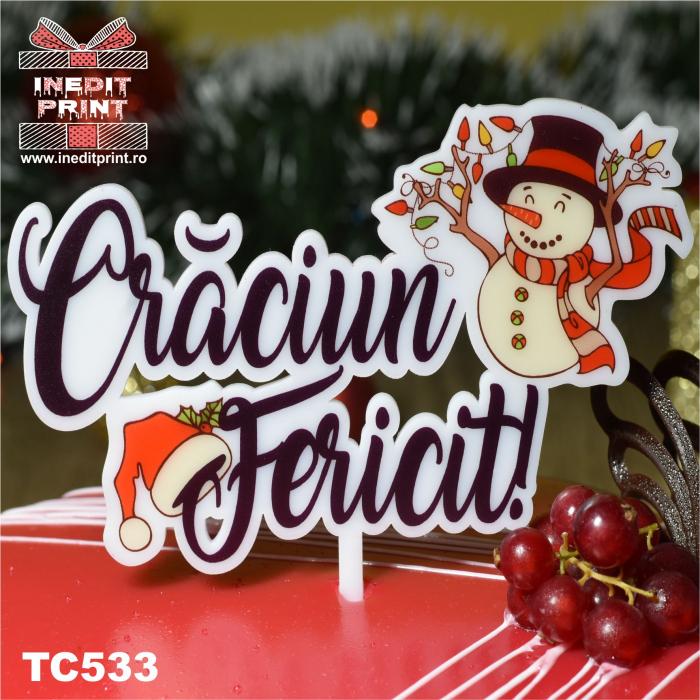 "Topper Tort UV ""Crăciun fericit "" TC533 1"