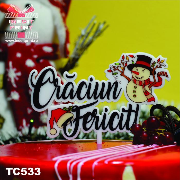 "Topper Tort UV ""Crăciun fericit "" TC533 3"