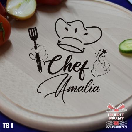 Tocător lemn rotund personalizat Chef TB10