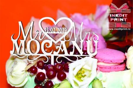 Topper Tort Personalizat Mr & Mrs TC13
