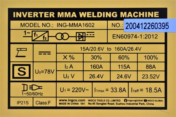 Aparat, invertor de sudura MMA 15 - 160Ah - INGCO ING-MMA1602 [1]