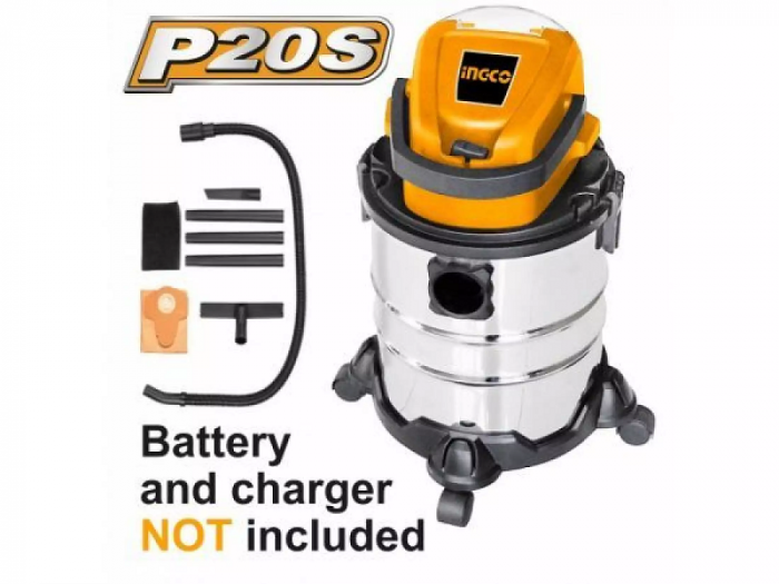 Aspirator pe acumulator, baterie 20V, 20L, uscat si umed - INGCO CVLI2005E [0]
