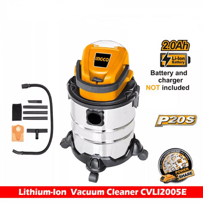 Aspirator pe acumulator, baterie 20V, 20L, uscat si umed - INGCO CVLI2005E [4]